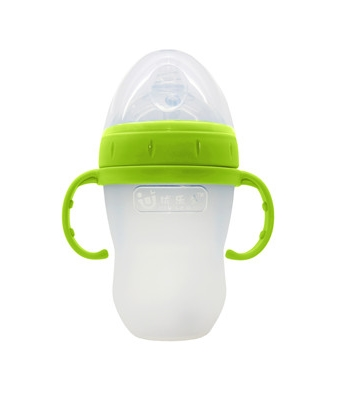 优乐多超宽口径全硅胶奶瓶绿色 大
